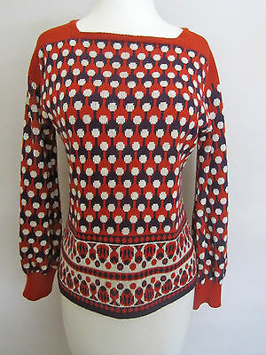 VINTAGE  '60's  knit sweater boat neck full sleeves FUN PRINT - Sz. S