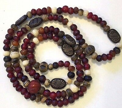 "Vintage African Tribal Amber Necklace 18"" Long Trade Beads Handmade"
