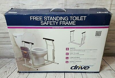 Drive Medical Stand Alone Toilet Safety Rail, White