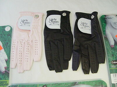 Set of 3 Lady Classic Nail Golf Gloves Left Hand Small  Black and Pink