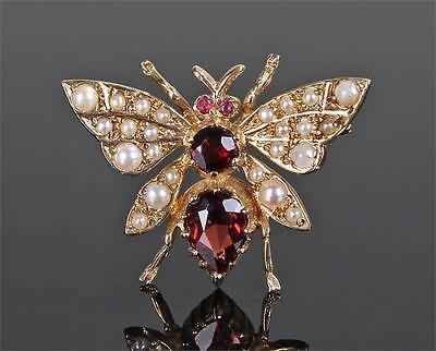 Vintage 9Ct Gold Garnet, Ruby & Seed Pearl Insect/Butterfly/Bug/Fly Pin Brooch