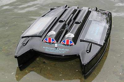 "Angling Technics Microcat baitboat, Wright Tackle ""Hopper Toppers"" Hopper covers"