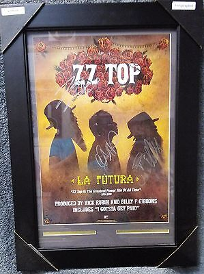 ZZ Top Hand Signed Autograph  La Futura Poster Billy Gibbons Dusty Baker Beard