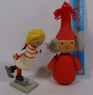 Vintage Sweden Solid Wood Skiing Girl & Solid Wood Santa Clause Germany ?