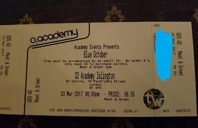 Blue October - The Home Tour  LONDON  4x tickets  03-03-2017 meet and greet