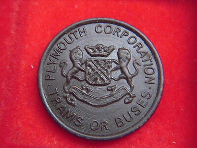 AN OLD PLYMOUTH CORPORATION 2d TOKEN FOR TRAM OR BUS FROM MY COLLECTION [F80]