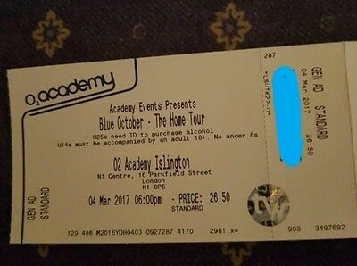 Blue October - The Home Tour  LONDON  4x tickets  04-03-2017