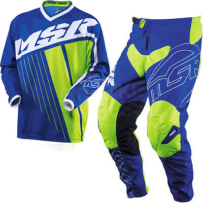New Msr Racing Axxis Blue White Green Adult Race Gear Combo Jersey Pants Mx