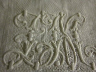 Antique French Hand done Monogrammed on the Finest Linen Bath Towel/scarf/Panel