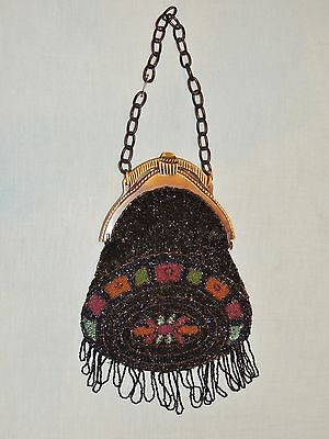 1920-30's Deco Seed Bead Beaded Flapper Purse w Fancy Bakelite? Frame