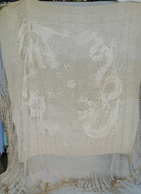1920-30's Huge Off White Silk Hand Embroidered Piano Shawl w DRAGONS