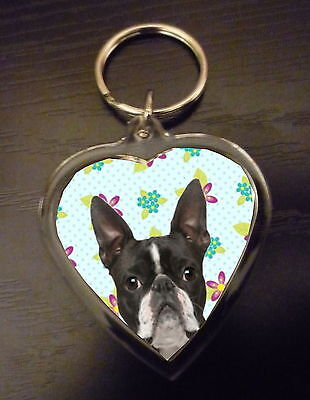 Boston Terrier Gift Keyring Dog Key Ring heart shape gift Free UK Post Valentine
