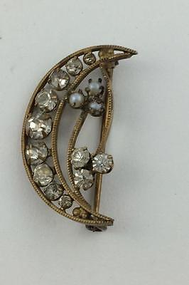 Antique Victorian Crystal Half-Moon Pin With Floral Design & Seed Pearls