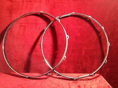"Pair (2) vintage 14"" Chrome Snare Drum Hoops. Batter & Snare Side Rims. 10 Lug"