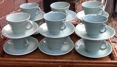 12 Beryl Ware Green Cups & Saucer Utility Home Theatre Telly