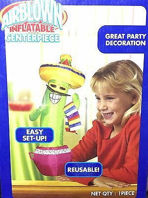Airblown Inflatable Cactus Fiesta Centerpiece Reusable Party Decoration Gemmy