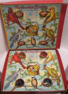 Old Game w/ fabulous Bird Graphics - Spinner puts wooden Eggs in Nest