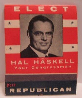 Old 1960s Feature Matches Advertising Hal Haskell Republican Congress Help IKE