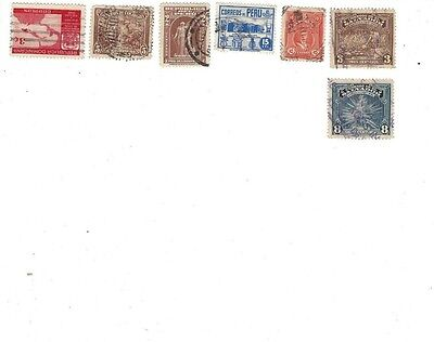 7 cancelled stamps Peru, Colombia, El Salvador, Dominican Rep. most from 1930s.