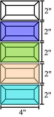 2x4 Stained Glass Bevels Variety - Clear/Blue/Green/Peach/Turquoise