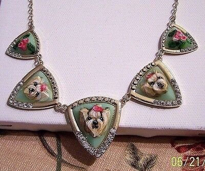 Yorkie hand painted gold tone faceted glass rhinestone pendant necklace