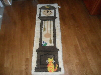 Handcrafted Latch Hook Rug, Cat & Mouse Grandfather Clock 17X54  FREE SHIP USA