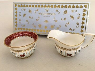 New Wedgwood Harlequin Collection Queen Of Hearts Cream & Sugar In Box