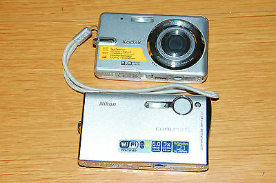 Nikon COOLPIX S6 and Kodak easy share M883 digital cameras.As is.