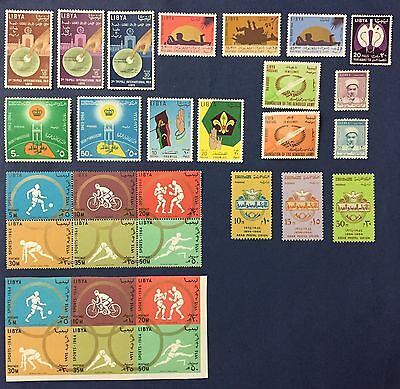 Libya 1964/65 Lot Of 30 Stamps Set Never Hinged Mnh** One Set Sports Imperf Rare