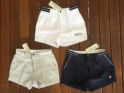 RENEE Mens Retro Style Mid 80s Tennis Shorts White/Grey/Navy 24/30/32/34/36 in