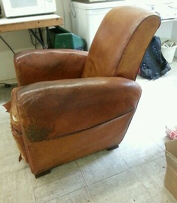 Rare, Antique, Rustic, Vintage, French, Leather, Club Chair, Industrial