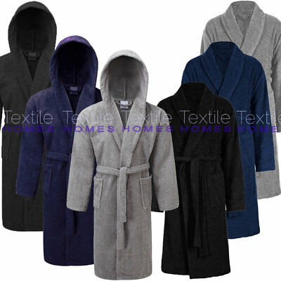 Mens Bath Robe 100% Cotton Terry Towelling Spa Dry Dressing Gown Shawl Collar