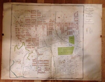Antique BALTIMORE MARYLAND Map BEAUTIFUL 1914 Vintage Atlas Map Topographical