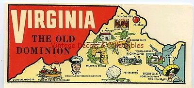 Vintage Virginia State Old Dominion Goldfarb Novelty Map Travel Decal Souvenir