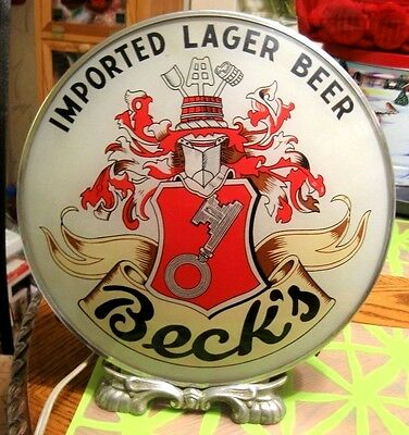 Super Rare Vintage Beck's Beer Claw Foot Round Gillco Light Lighted Sign Germany