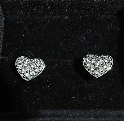 New Pandora S925 ALE Clear Heart Pave Stud Earrings