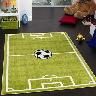 Childrens Rug New Nursery Rugs Carpets Football Pitch Design Sport Pattern Green
