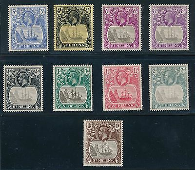 "1922 - 1927 St. Helena ""BADGE OF COLONY"" ISSUES AS LISTED, MH, CAT VALUE $50"