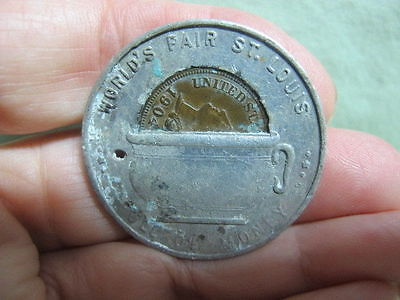 WORLDS FAIR ST LOUIS MO encased penny 1904 rare variety camber pot