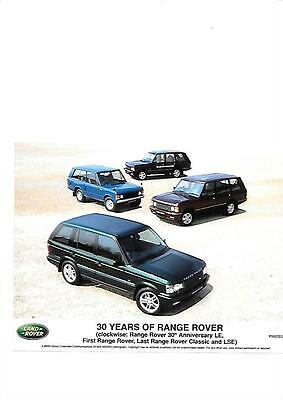Press Photo Celebrating 30 Years Of Range Rover 'brochure Related'