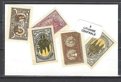 Lituanie centrale - Central Lithuania 5 timbres différents