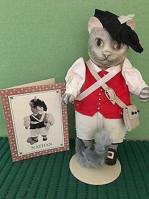Rare, Retired Colonial Cat, Nathan from New York, Franklin Mint Collectible