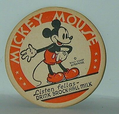 Mickey Mouse Milk Bottle Coaster Premium Brock-Hall Milk Walt Disney Ent 1930s