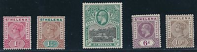 1890 - 1912 St. Helena EARLY ISSUES #41, #42, #46, #58, #61; MLH CAT VALUE $50