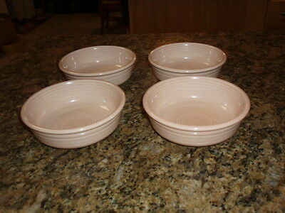Four PINK Vintage Fiestaware Fruit / Cereal Bowls - 5 1/2 Inches