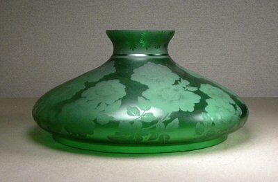 Antique Large Victorian Acid Etched Floral Green Glass Lamp Shade