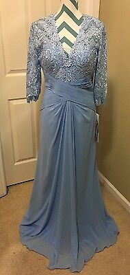 Montage By Mon Cheri Blue 3/4 Sleeve Lace+ Chiffon Mother Of The Bride Gown Sz10