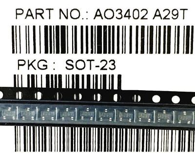 100PCS AO3402 A29T 4A/30V SOT-23 N-Channel MOSFET transistor SMD