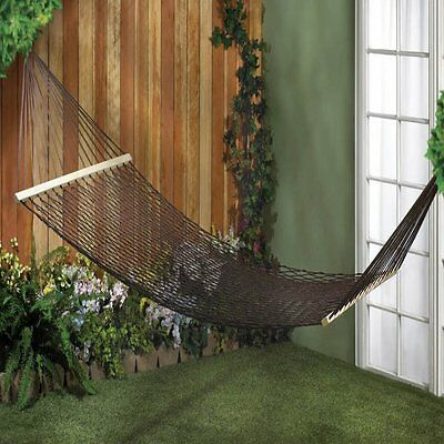 New Espresso Two-person Hammock Woven Rope Mesh Pattern Lawn Patio Decor