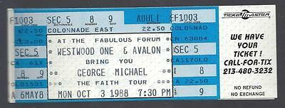"1988 George Michael ""wham"" Full Unused Concert Ticket @ Los Angeles Forum"